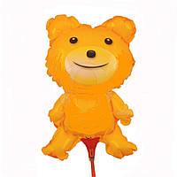 Надувной шарик Мишка на палочке , желтый