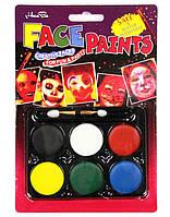 "Краски для лица ""Leader"" 6 цветов + спонж"