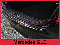 Накладка на задний бампер с загибом и ребрами на Mercedes GLE черная Coupe crossover 2015