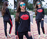 Женский спортивный костюм трикотажный *Губки* черный и красный