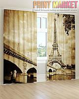 Фото шторы мост и Эйфелева Башня 3D