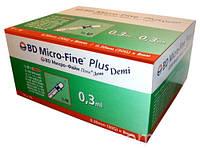 Шприц инсулиновый BD Micro-Fine Plus Demi U-100 0,3мл*8мм