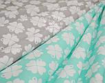 """Ткань хлопковая """"Клевер"""" с белыми цветочками  на мятном фоне № 1000, фото 4"""