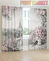 Фото шторы цветы и город