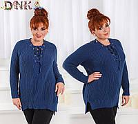 Женский свитер 48+ с шнуровкой, 3 цвета  арт 2261-1