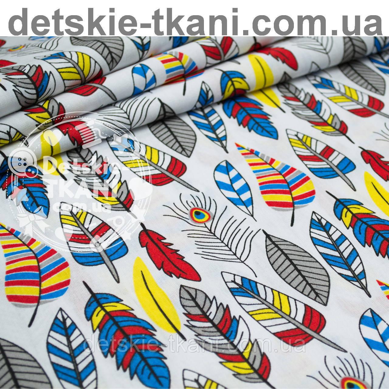 Отрез ткани с густыми перьями красно-синего цвета № 1002 размер 120*160