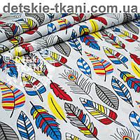 Ткань хлопковая с густыми перьями красно-синего цвета № 1002