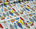 Отрез ткани с густыми перьями красно-синего цвета № 1002 размер 120*160, фото 2