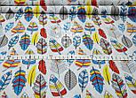 Отрез ткани с густыми перьями красно-синего цвета № 1002 размер 120*160, фото 4