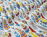 Отрез ткани с густыми перьями красно-синего цвета № 1002 размер 120*160, фото 3