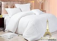 Белое постельное белье для гостиниц Love you страйп, полуторный