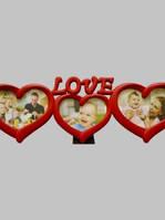 Рамка коллаж 8005 Love 3 фото красная