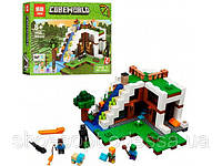 Конструктор Lepin Minecraft Майнкрафт База на водопаде: 568 деталей, 3 фигурки, фото 1