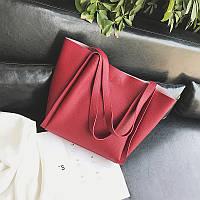 Женская сумка с ручками красная большая + косметичка набор, фото 1