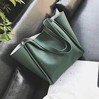 Набір велика жіноча сумка і косметичка зелена, фото 1