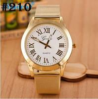 Золотистые женские часы с металическим браслетом Geneva (210)