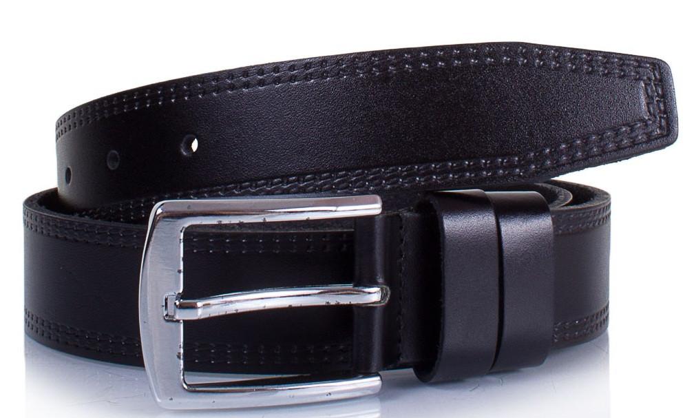 Качественный мужской кожаный ремень Ysk черный 3,5 см