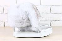 Ботинки женские Hermes зимние кожаные с мехом писца Uk0381