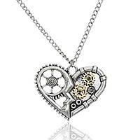 Подвеска в стиле Стимпанк, Сердце, Шестерёнки, Античное серебро, Цинковый сплав, 57 см цепочка