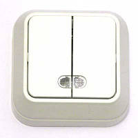 Выключатель двухклавишный с подсветкой  Makel IP-20