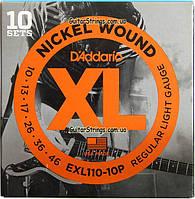 Струны D'Addario EXL110-10P Nickel Wound 10-46 10 set, фото 1