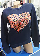 Стильный женский темно синий свитшот с сердечками на флисе