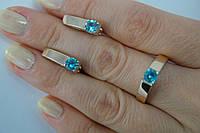 Серебряное кольцо и серьги с пластинами золота. Комплект украшений.