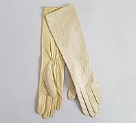 Бежевые длинные перчатки без подкладки кожа с перфорацией