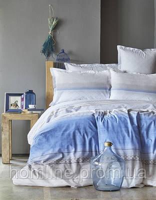 Постельное белье Karaca Home ранфорс Lapis индиго евро размер