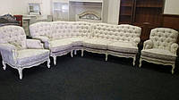 Бельгийский угловой диван (пятиместный) и два кресла в стиле рококо, б/у.