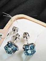 Серебряные серьги гвоздики со Swarovski, фото 1