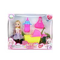 Кукла 10см с коляской, бутылочкой и сумкой 600-38 в коробке