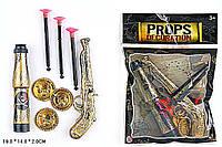 Пиратский набор 55903 (300шт/2) подз.труба, монеты, мушкет, в пакете 19*14*2см