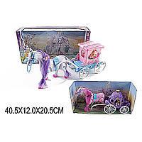 Карета 686-714/6 (1455681/4) (24шт/2) 2 вида,  с лошадкой,  музыка,  ходит,  куколкой,  в коробке  40*11*21 см.