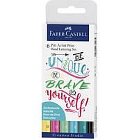 Набор капиллярных ручек Faber-Castell 6 PITT Artist Pens Hand Lettering Set 267116 (пастельные оттенки)