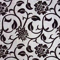 Мебельная ткань рогожка с флоком Бутон черный
