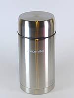 Термос для еды Kamille 1000 мл (держит до 10ч!) из нержавеющей стали, пищевой термос для первых и вторых блюд