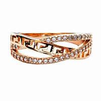 Красивое женское кольцо позолоченное . Размер 18
