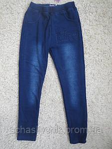 Зимние джинсовые лосины на флисе для девочек с Венгрии оптом , размер 134-164, фирма A