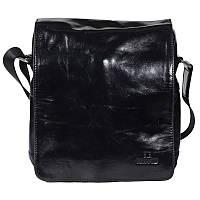 Стильная мужская кожаная сумка через плечо лакированная черная Lare Boss LB002832-2051