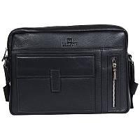 Добротная мужская кожаная сумка горизонтального типа под формат А4 черная Lare Boss LB00285-41