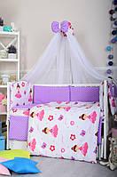 Постельное белье в детскую кроватку Bepino Польша  Принцесса и сиреневый горошек