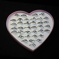 Кольца под серебро, пластиковая коробочка в виде сердца, разные размеры, 36 штук в коробке