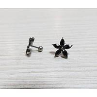 Сережки - гвоздики мед.сталь,  камень фианит, в виде цветочка ЦЕНА ЗА ПАРУ