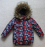 Зимняя куртка на мальчика 2-5 лет мех под овчину