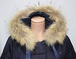 Куртка пальто женская,удлиненная зимняя холлофайбер, темно-синяя с натуральным мехом, фото 4
