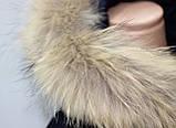 Куртка пальто женская,удлиненная зимняя холлофайбер, темно-синяя с натуральным мехом, фото 5