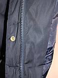 Куртка пальто женская,удлиненная зимняя холлофайбер, темно-синяя с натуральным мехом, фото 8