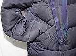 Куртка пальто женская,удлиненная зимняя холлофайбер, темно-синяя с натуральным мехом, фото 9