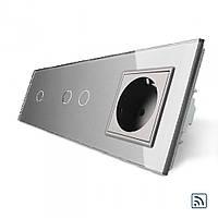 Сенсорный радиоуправляемый выключатель 3 канала (1-2) с розеткой серый стекло (VL-C701R/C702R/C7C1EU-15), фото 1